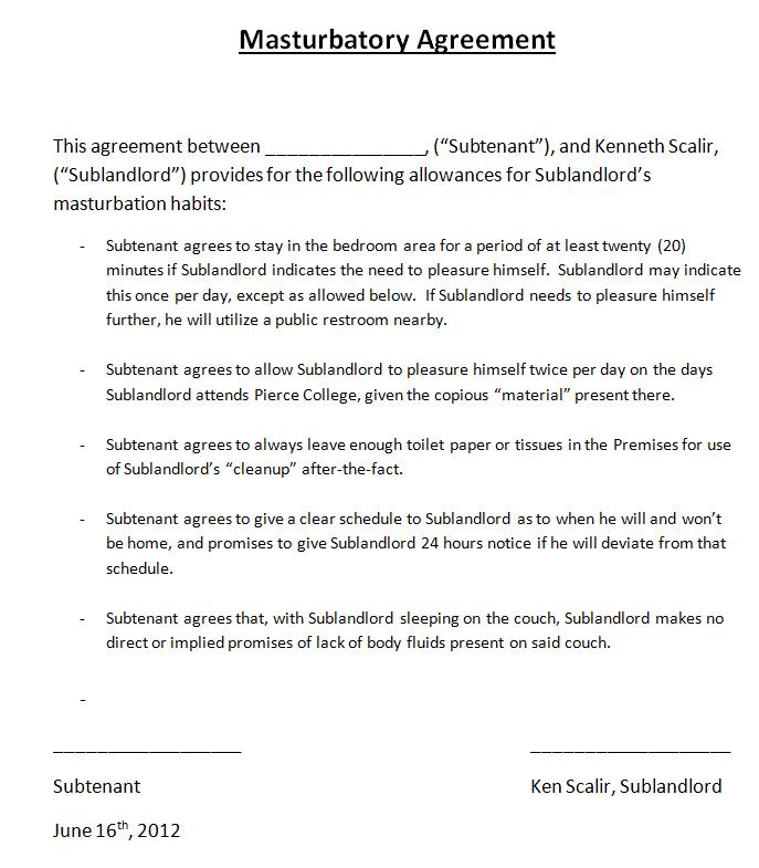 Masturbatory Agreement Addendum To Rental Agreement June 16 2012